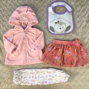 Baby Girl Bundle Fleece Jacket Skirt Bib Pants
